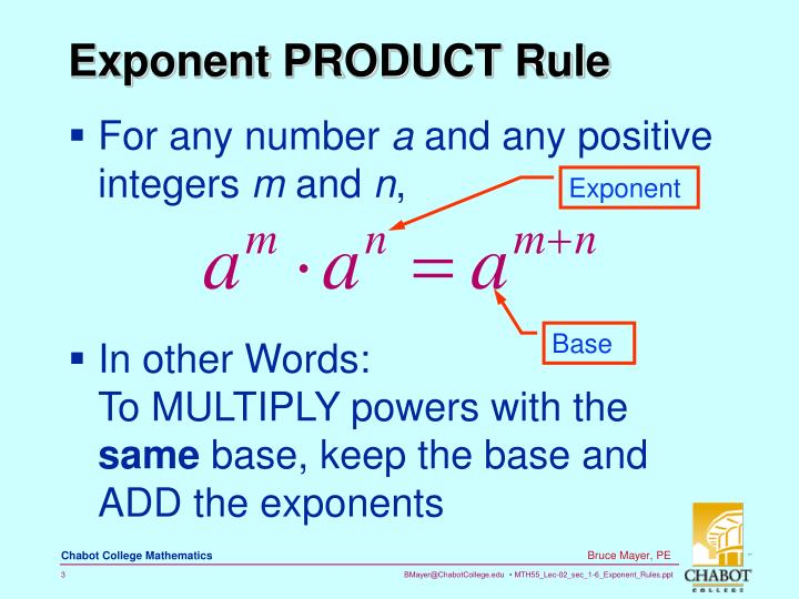 Exponent product rule