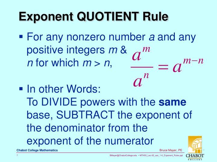 Exponent QUOTIENT Rule