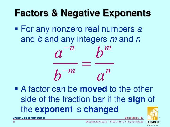 Factors & Negative Exponents