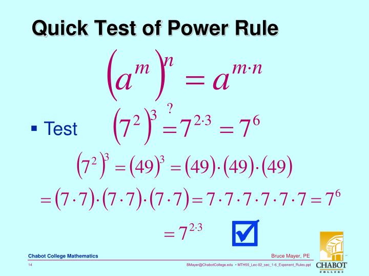 Quick Test of Power Rule