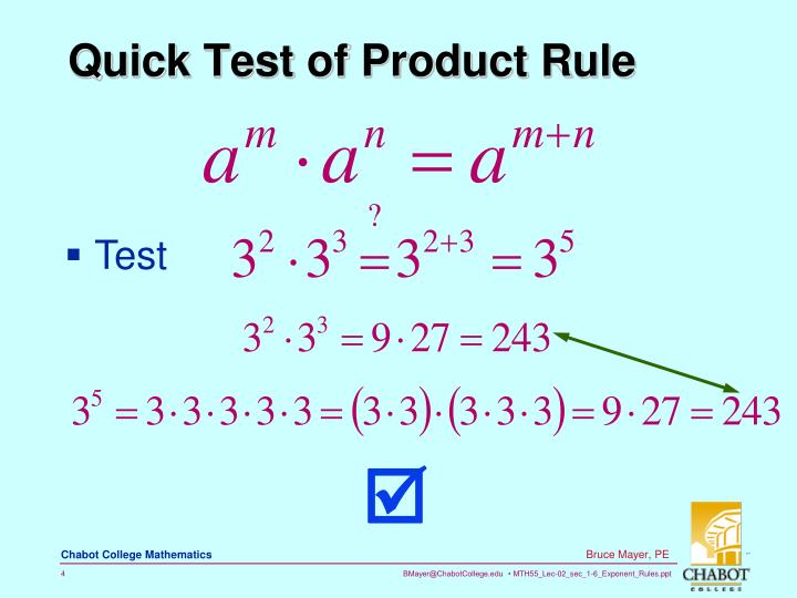 Quick Test of Product Rule