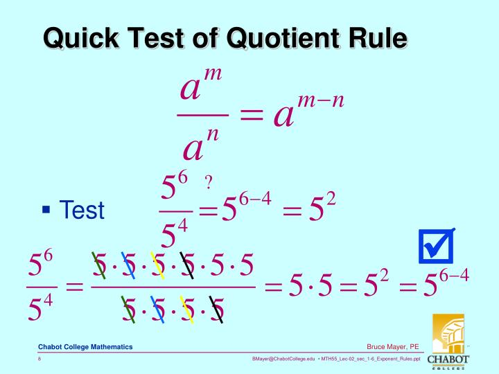 Quick Test of Quotient Rule