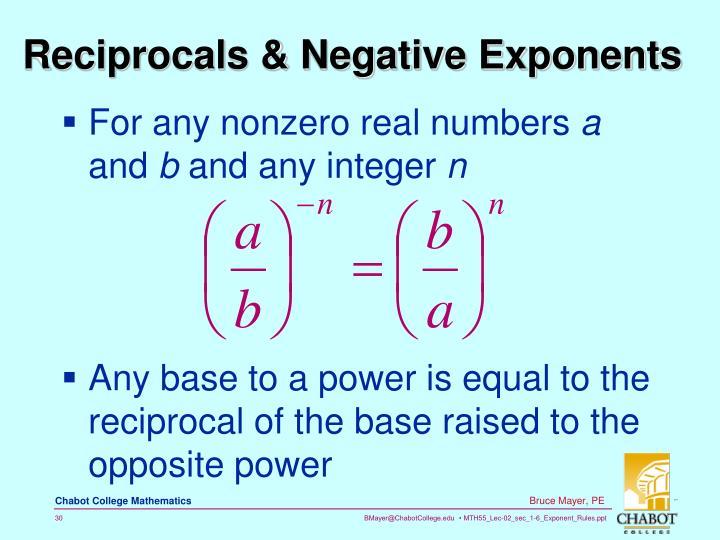 Reciprocals & Negative Exponents