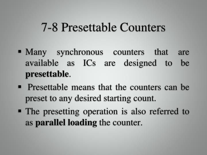 7-8 Presettable Counters