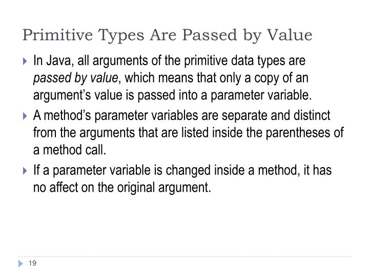 Primitive Types Are