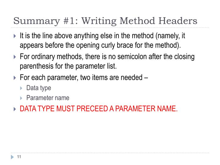 Summary #1: Writing Method Headers