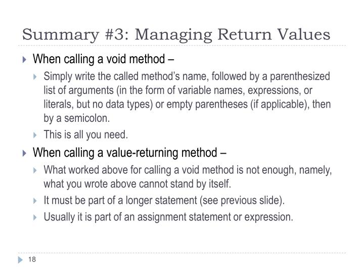Summary #3: Managing Return Values