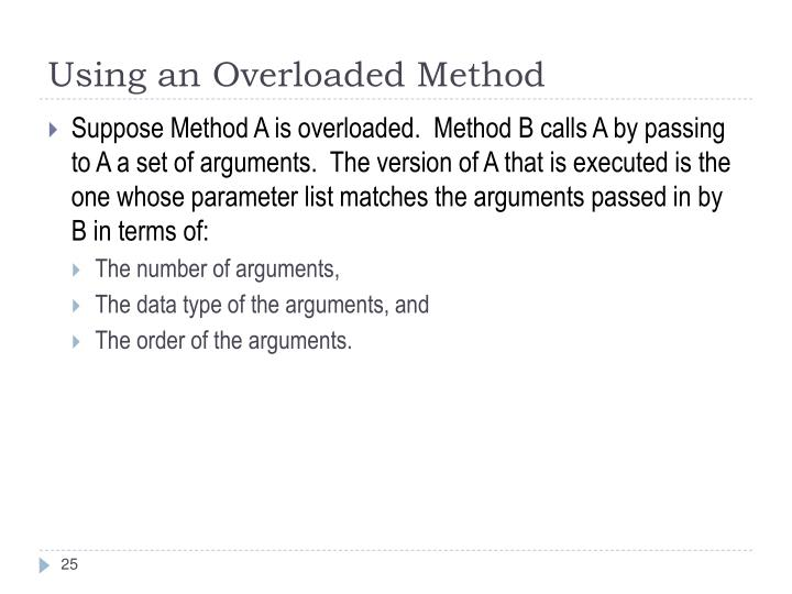 Using an Overloaded Method