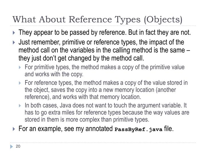 What About Reference Types (Objects)