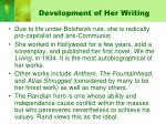 development of her writing