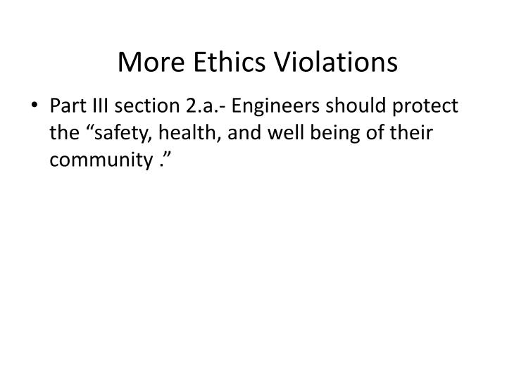 More Ethics Violations