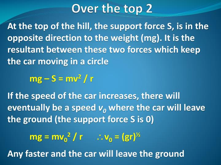 At the top of the hill, the support force S, is in the opposite direction to the weight (mg). It is the resultant between these two forces which keep the car moving in a circle