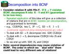 decomposition into bcnf