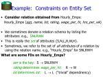 example constraints on entity set