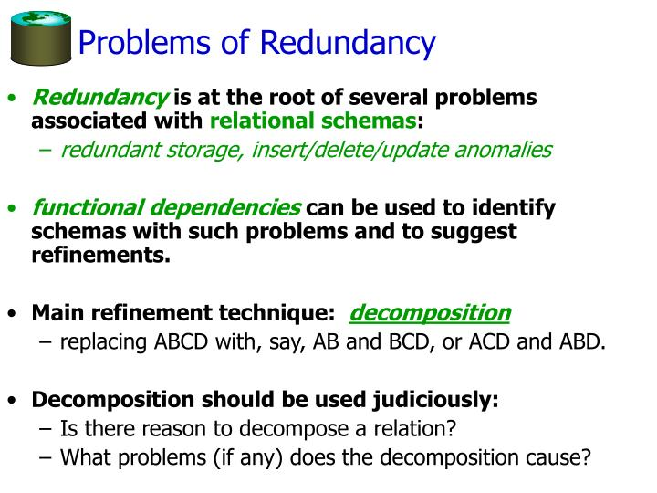 Problems of Redundancy