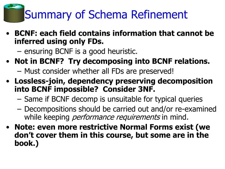 Summary of Schema Refinement