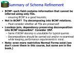 summary of schema refinement