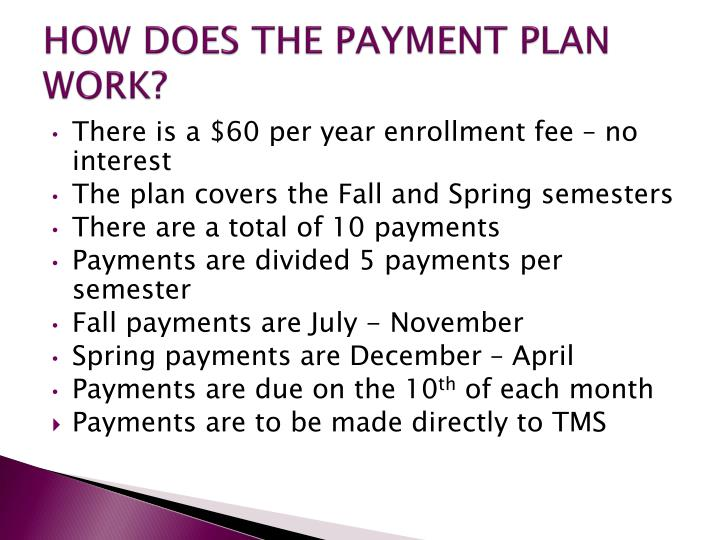 HOW DOES THE PAYMENT PLAN WORK?