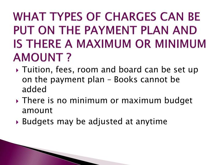 WHAT TYPES OF CHARGES CAN BE PUT ON THE PAYMENT PLAN AND IS THERE A MAXIMUM OR MINIMUM AMOUNT ?