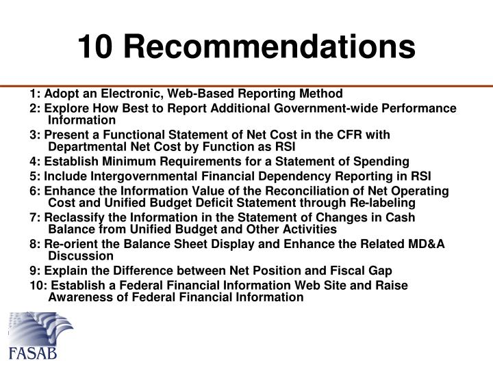 10 Recommendations