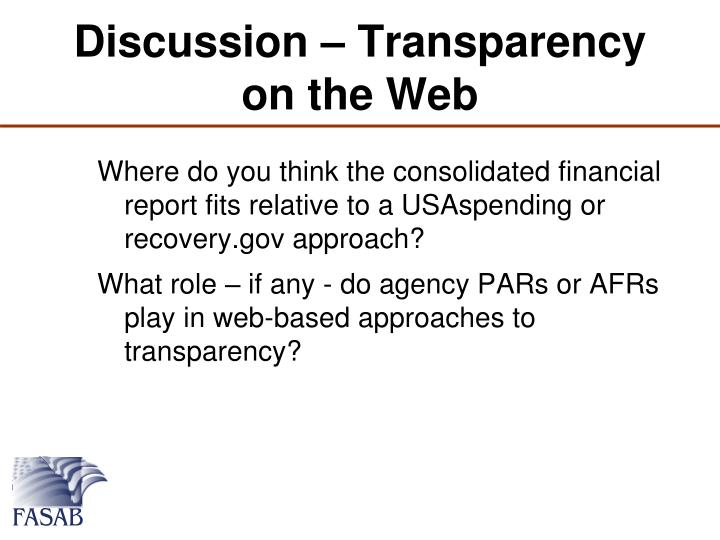 Discussion – Transparency on the Web