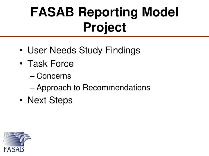 FASAB Reporting Model Project