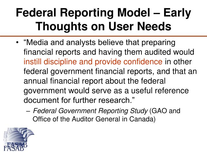 Federal Reporting Model – Early Thoughts on User Needs