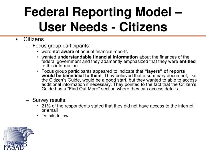Federal Reporting Model – User Needs - Citizens
