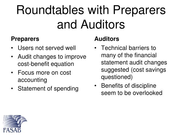 Roundtables with Preparers and Auditors