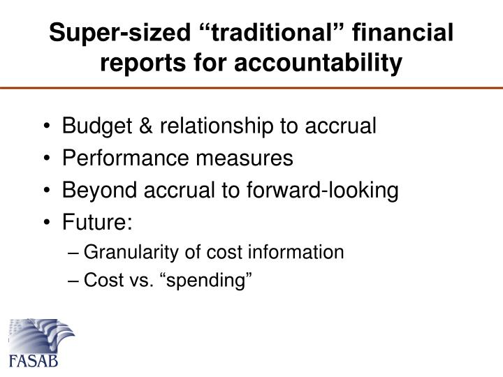 "Super-sized ""traditional"" financial reports for accountability"