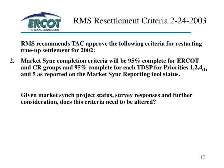 RMS Resettlement Criteria 2-24-2003