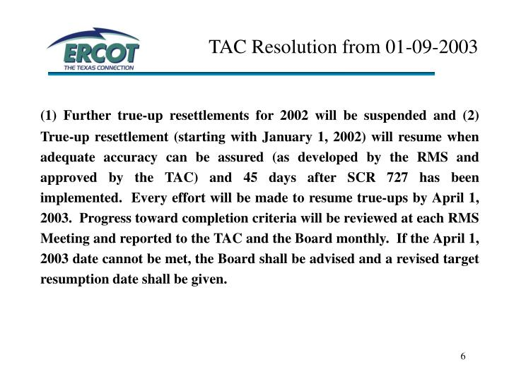 TAC Resolution from 01-09-2003