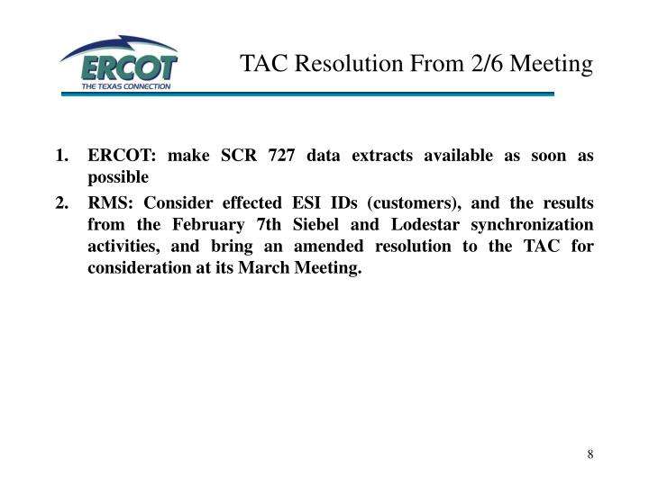 TAC Resolution From 2/6 Meeting