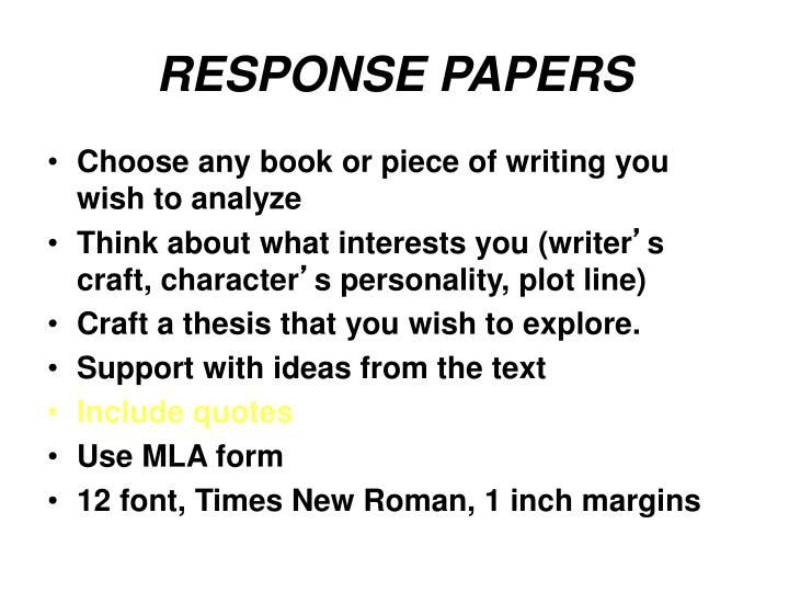 RESPONSE PAPERS