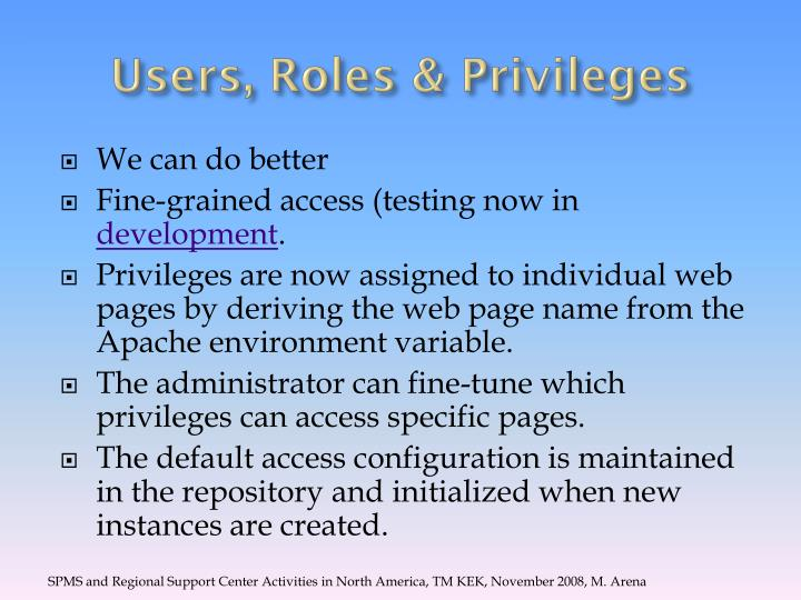 Users, Roles & Privileges