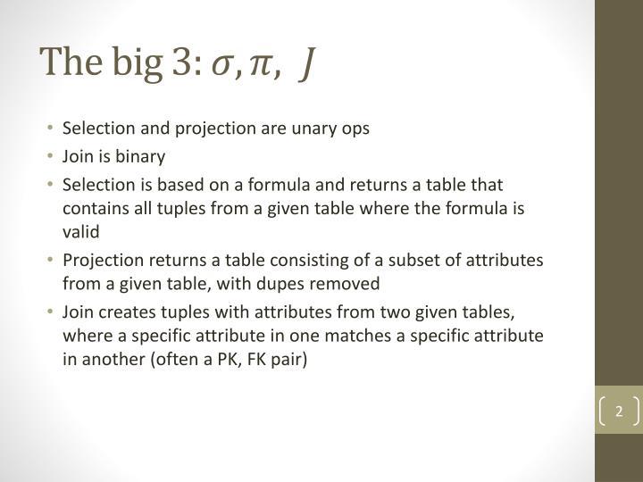 The big 3: