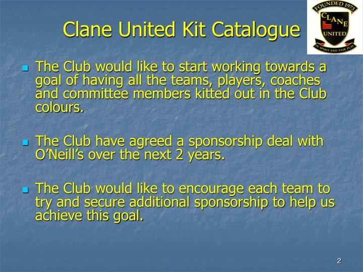Clane United Kit Catalogue