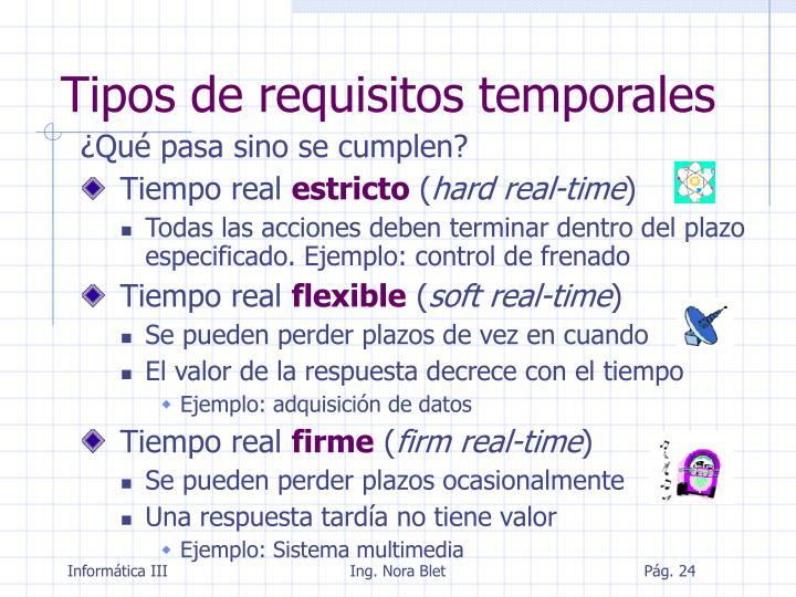 Tipos de requisitos temporales