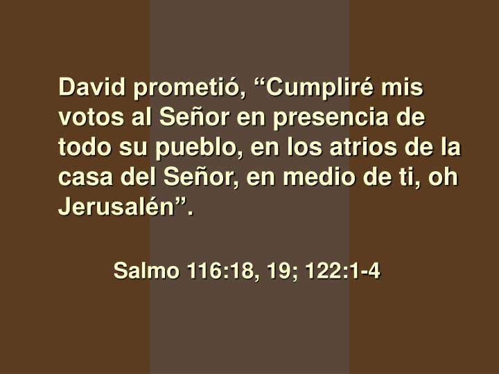 """David prometió, """"Cumpliré mis votos al Señor en presencia de todo su pueblo, en los atrios de la casa del Señor, en medio de ti, oh Jerusalén""""."""