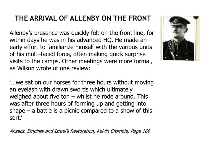 THE ARRIVAL OF ALLENBY ON THE FRONT