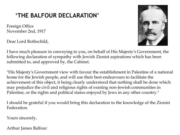 'THE BALFOUR DECLARATION'