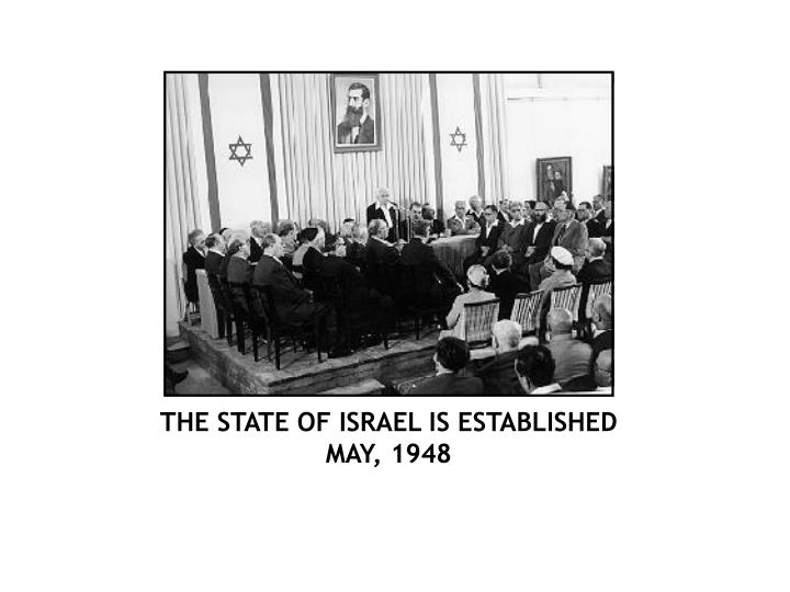 THE STATE OF ISRAEL IS ESTABLISHED