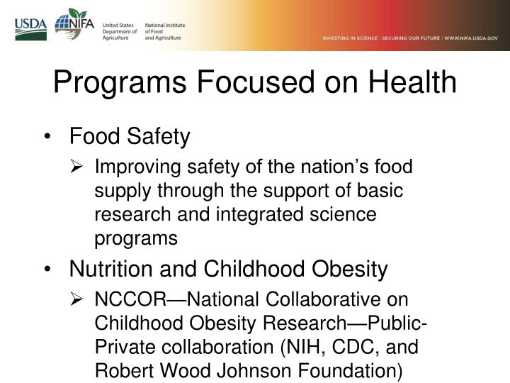 Programs Focused on Health