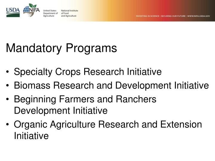 Mandatory Programs