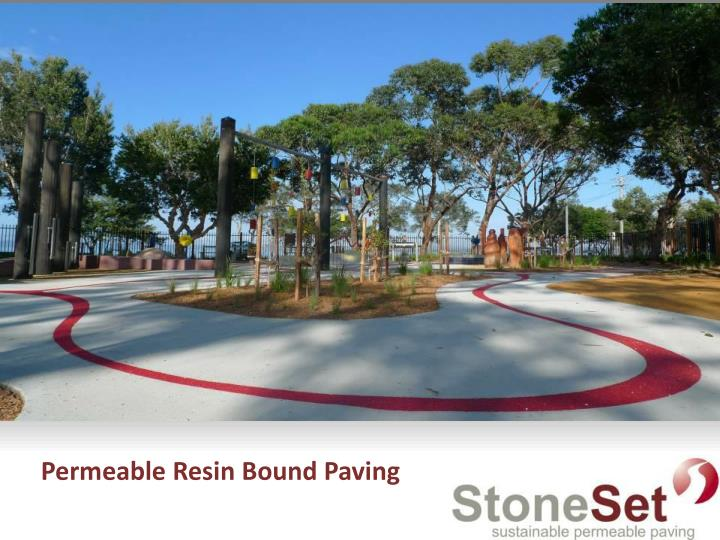 Permeable resin bound paving