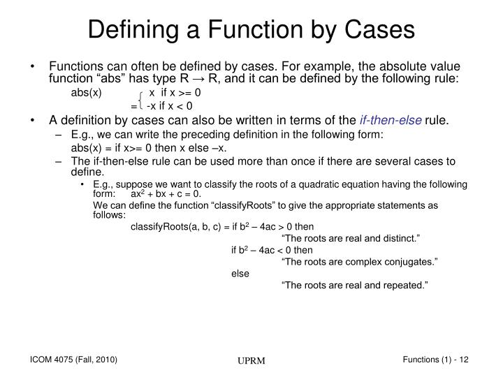 Defining a Function by Cases