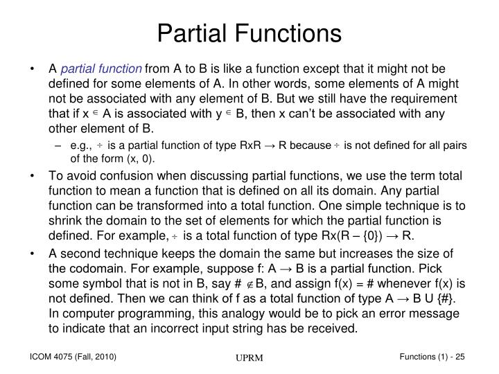 Partial Functions
