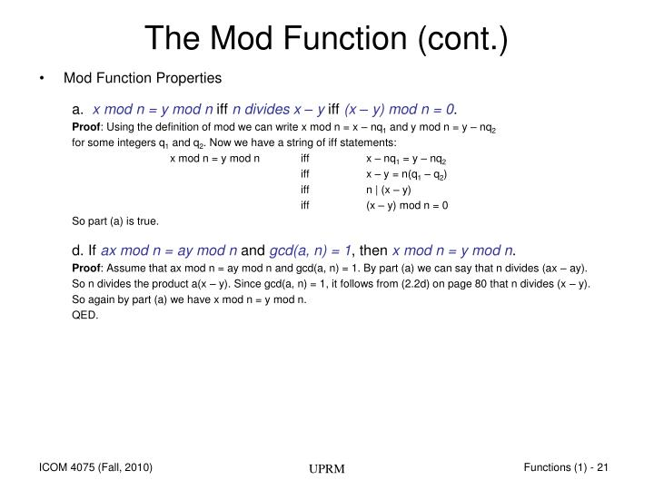The Mod Function (cont.)