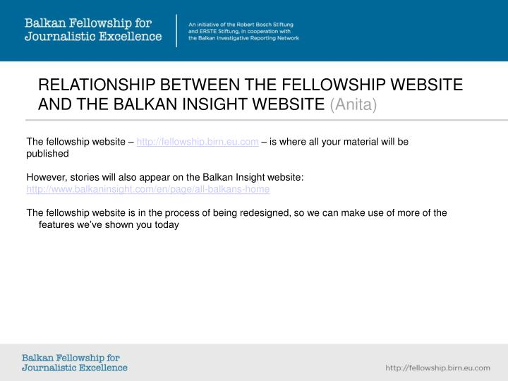 RELATIONSHIP BETWEEN THE FELLOWSHIP WEBSITE