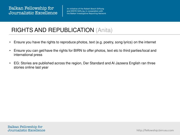 RIGHTS AND REPUBLICATION